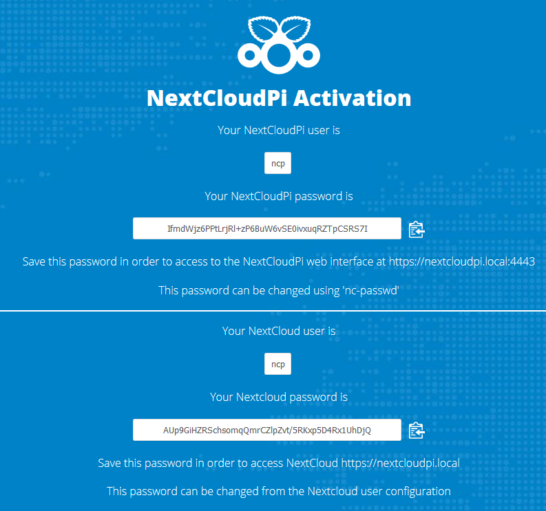 Activation de Nextcloud