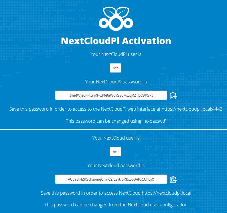 Activation de Nextcloud